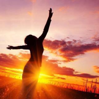 Sunset Woman Hands Free